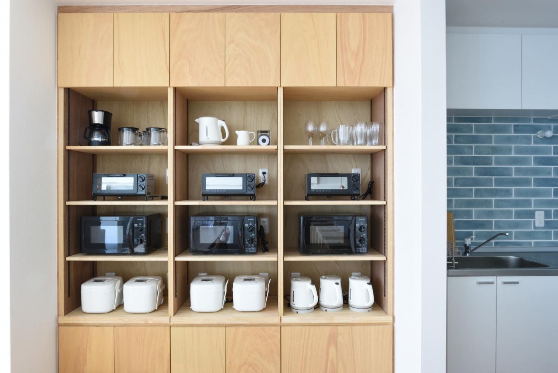 大阪シェアハウス新築の家電棚